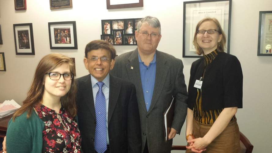 Branford's Daniela Giordano (right) is often at the state capital in her work as public policy director for National Alliance on Mental Illness (NAMI) of Connecticut. Shown with her during one of her busy days are (from left) NAMI Connecticut social work intern Gretchen Marino, Glastonbury State Representative Prasad Srinivasan, and NAMI Connecticut Communications Manager Tom Burr. Giordano invites the public to support the 2017 NAMI CT Walk in Hartford on Saturday, May 20. Photo courtesy of Daniela Giordano