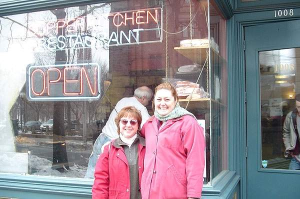 Jen Payne and DeLinda Spain reuniting at the Copper Kitchen in 2003. Photo courtesy of Jen Payne