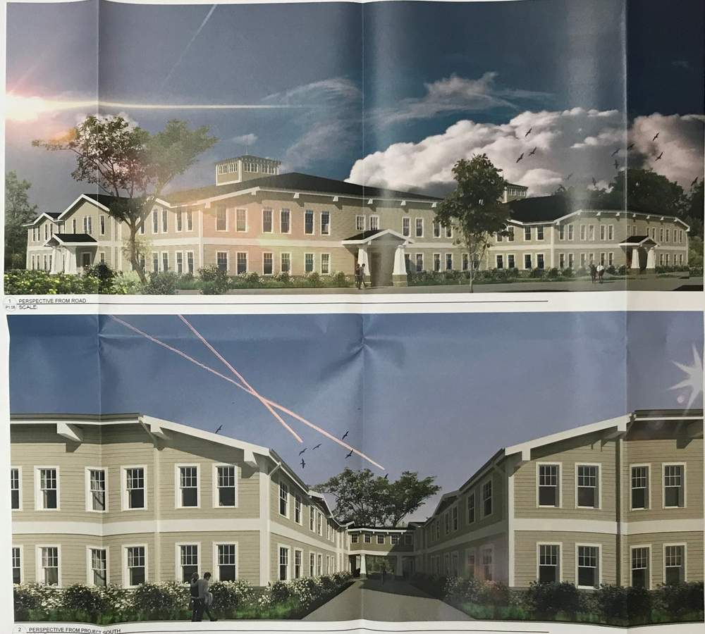 Permit drawings include these rendered views of the building design for a professional medical office park being proposed at 28 Branford Road/Route 139 in North Branford.  Pam Johnson/The Sound