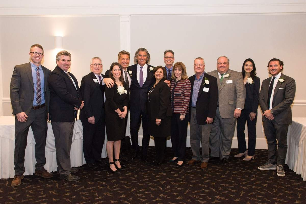 Attendees and honorees at the 2018 Shoreline Chamber of Commerce annual Dinner and Awards Celebration included (from left) WFSB meteorologist Mark Dixon, Branford First Selectman Jamie Cosgrove, Guilford First Selectman Matt Hoey, Dan Cosgrove Animal Shelter Executive Director Laura Burban (award winner), John Saville of John Saville Entertainment (award winner); East River Energy CEO Don Herzog (award winner), Shoreline Chamber Chair Camille Murphy of Murphy & CO CPAs, Rich Cobb of Pressed and Dressed (award winner), Shoreline Chamber of Commerce President Sheri Cote, Peter Sikes of Shoreline Pixels (award winner), Town of Guilford Economic Develiopment Coordinator Brian McGlone (award winner), Jackie Salg of Pressed and Dressed (award winner), and East River Energy President Jesse Herzog (award winner). Photo courtesy of Sheri Cote