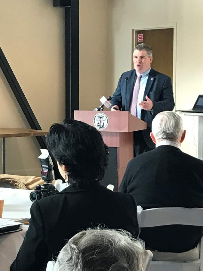 Branford First Selectman Jamie Cosgrove discusses the State of the Town at the March 28 Branford Economic Forum presented by the Branford Economic Development Commission at Stony Creek Brewery. Pam Johnson/The Sound