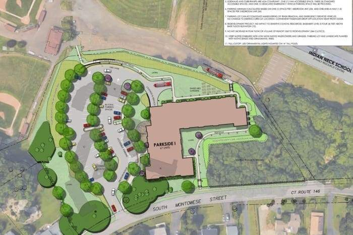 This view of the redeveloped Parkside Village I includes Sliney Road (without proposed changes) at right.  Image from www.courbanize.com