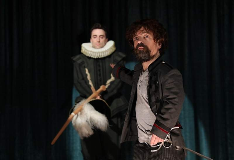 Peter Dinklage with Charlie Thurston in Goodspeed's developmental production of Cyrano. Dinklage will again star in the new musical adaptation of the play in a production being staged by The New Group at the Daryl Roth Theatre beginning in October. Photo by Diane Sobolewski