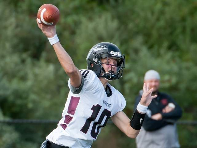 Junior quarterback Jack Cox and the Valley Regional-Old Lyme football team improved to 2-0 on the year after posting a 21-0 shutout against Cromwell-Portland on Sept. 21. File photo by Kelley Fryer/The Courier