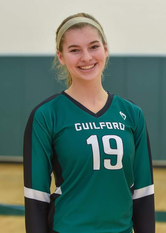 Eva Ott Hill is leading the Guilford volleyball team as both a senior captain and a setter this season. Photo by Kelley Fryer/The Courier