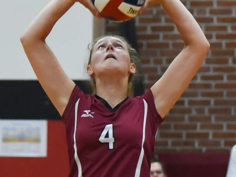 Junior setter Alena Crosby and the Valley Regional volleyball team picked up a win against North Branford on Sept. 23. Crosby led the team with 26 assists in the victory. File photo by Kelley Fryer/The Courier