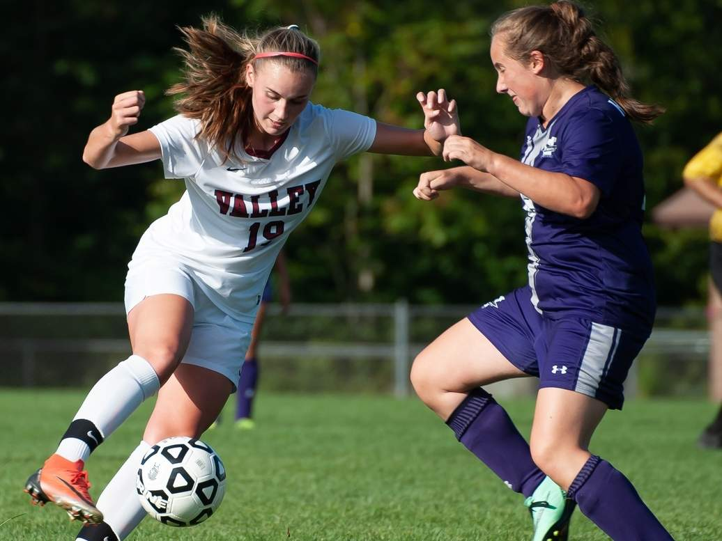 Ava Duval (left) and the Valley girls' soccer team earned draws versus Portland and Old Lyme in recent action. File photo by Kelley Fryer/The Courier