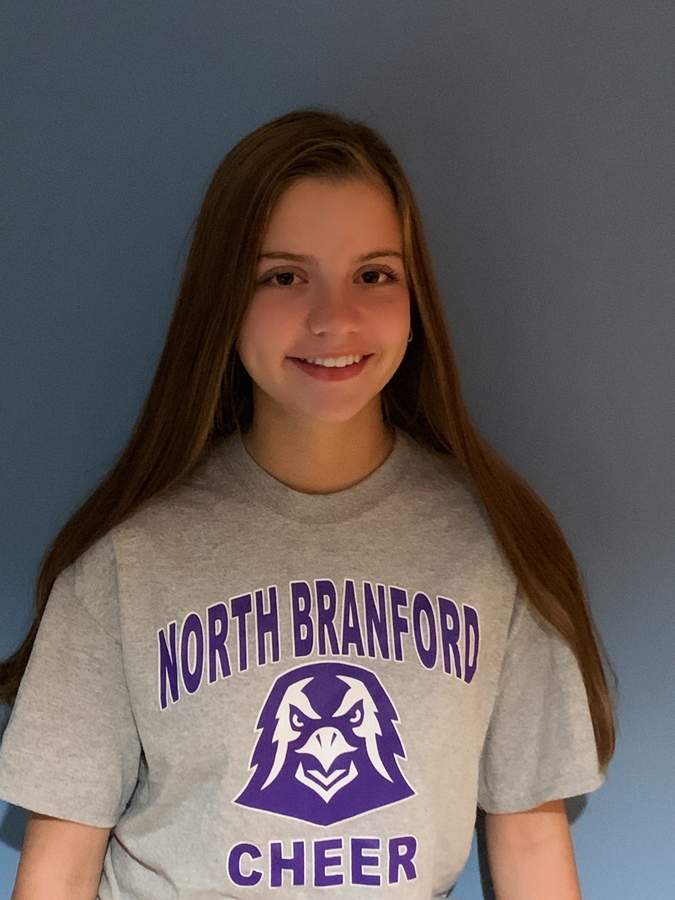 Senior Rachel Vitarisi is in her second season as a captain for the North Branford cheerleading team. She feels eager for the T-Birds to get back into the thick of competition season this winter. Photo courtesy of Rachel Vitarisi