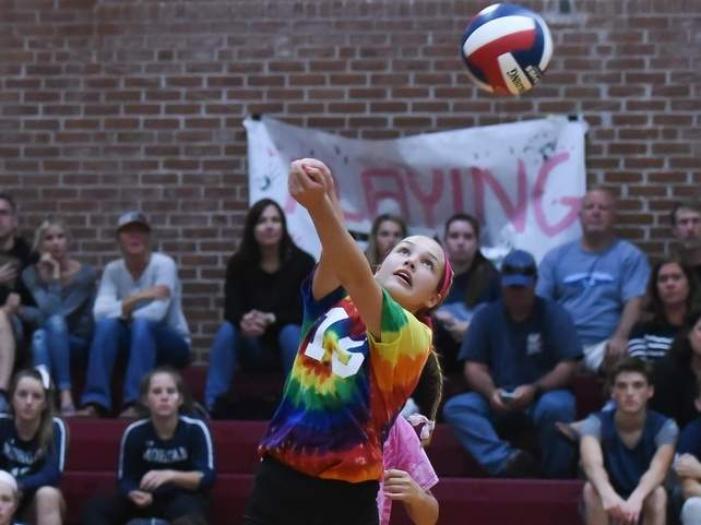 Junior Emma Counter put forth a big performance to help the Valley Regional volleyball team notch a 3-0 sweep against Morgan in the team's annual Dig Pink Game on Oct. 7. Photo by Kelley Fryer/The Courier