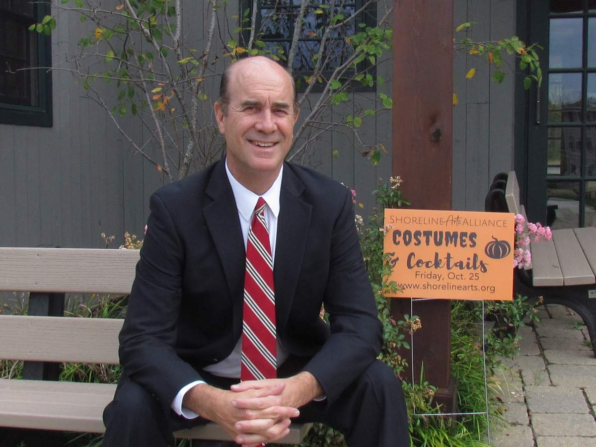 Rob Oman is a managing partner of The Stone Agency Insurance, which is showing its support of Shoreline Arts Alliance (SAA) by hosting the SAA Guild's Costumes & Cocktails at the agency's expansive home and beautiful grounds on Goose Lane on Friday, Oct. 25 at 7 p.m. Photo by Pam Johnson/The Courier