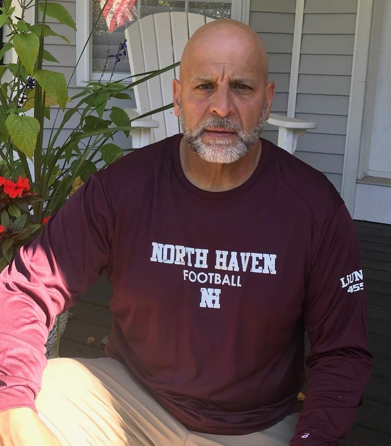 North Haven football JV coach Ralph Inorio has been a part of Head Coach Anthony Sagnella's staff dating all the way back to Sagnella's time at North Branford. Now in his third stint with Sagnella, Ralph, who lives in Branford, is helping the Indians' younger players make the jump from youth football to the high school ranks. Photo courtesy of Ralph Inorio