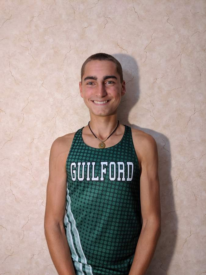 Jacob Shiffrin is leading the Guilford boys' cross country team as a senior co-captain this fall. Jacob and the Indians captured the SCC Hammonasset Division title during last week's action. Photo courtesy of Jacob Shiffrin