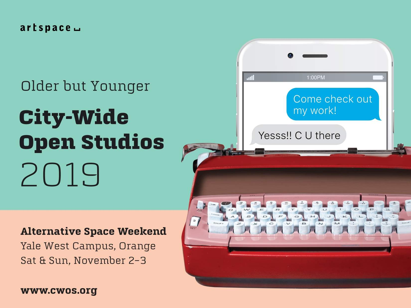 22nd annual City-Wide Open Studios Alternative Space Weekend, November 2-3, 12-6pm both days, at the Yale West Campus in Orange