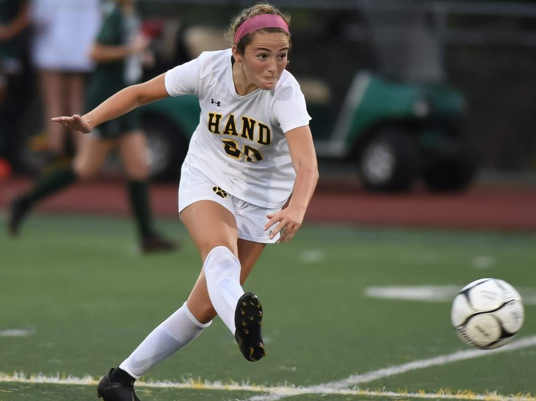 Mia Forti scored two goals to lift the Hand girls' soccer squad to a 5-0 victory over Cross last week. The Tigers qualified for the Class L State Tournament with this victory. File photo by Kelley Fryer/The Source