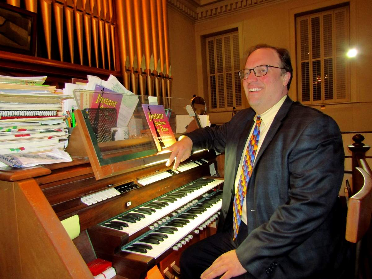 The Old Stone Church's distinctive 1894 Johnson pipe organ will be in full song for a Sunday, Nov. 17 recital led by organist and choir director Jonathan Budd. Photo by Elizabeth Reinhart/The Courier