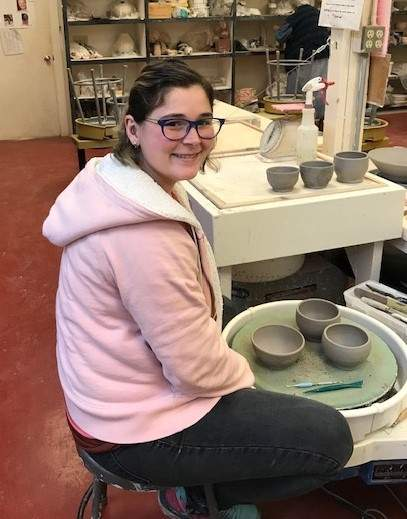 Guilford Art Center's (GAC) new resident potter, Megan Mayall, brings plenty of experience to share with students, and is also enjoying learning from others in GAC's pottery community. Mayall is GAC's fifth resident potter and will be in residence through August 2020. She holds a BFA in ceramics (May, 2018) from the Alfred University College of Art & Design, located in her home state of New York. Photo courtesy of the Guilford Art Center