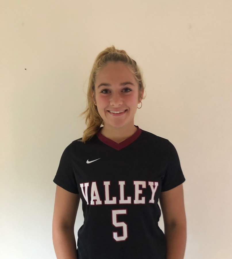 Jeni Caulfield has carved out a spot playing center back for a playoff-bound Valley girls' soccer squad this fall. Jeni also competes for the Warriors' indoor and outdoor track teams. Photo courtesy of Jeni Caulfield