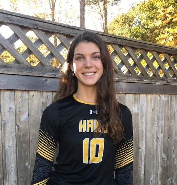Senior captain Allie Nelson is racking up the kills as an outside hitter for the Hand girls' volleyball team this season. Photo courtesy of Allie Nelson