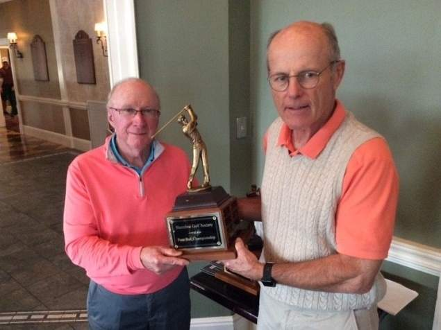 Madison's Bill Tuthill and Lyle Holmberg claimed the four-ball championship for the Shoreline Golf Society on Oct. 13. Tuthill also won the match-play championship. Photo courtesy of Mike Dore
