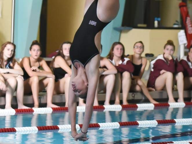 Senior Ava Santacroce scored a 401.70 to finish in first place for North Haven at the SCC Diving Championship at Sheehan High School on Nov. 1. File photo by Kelley Fryer/The Courier