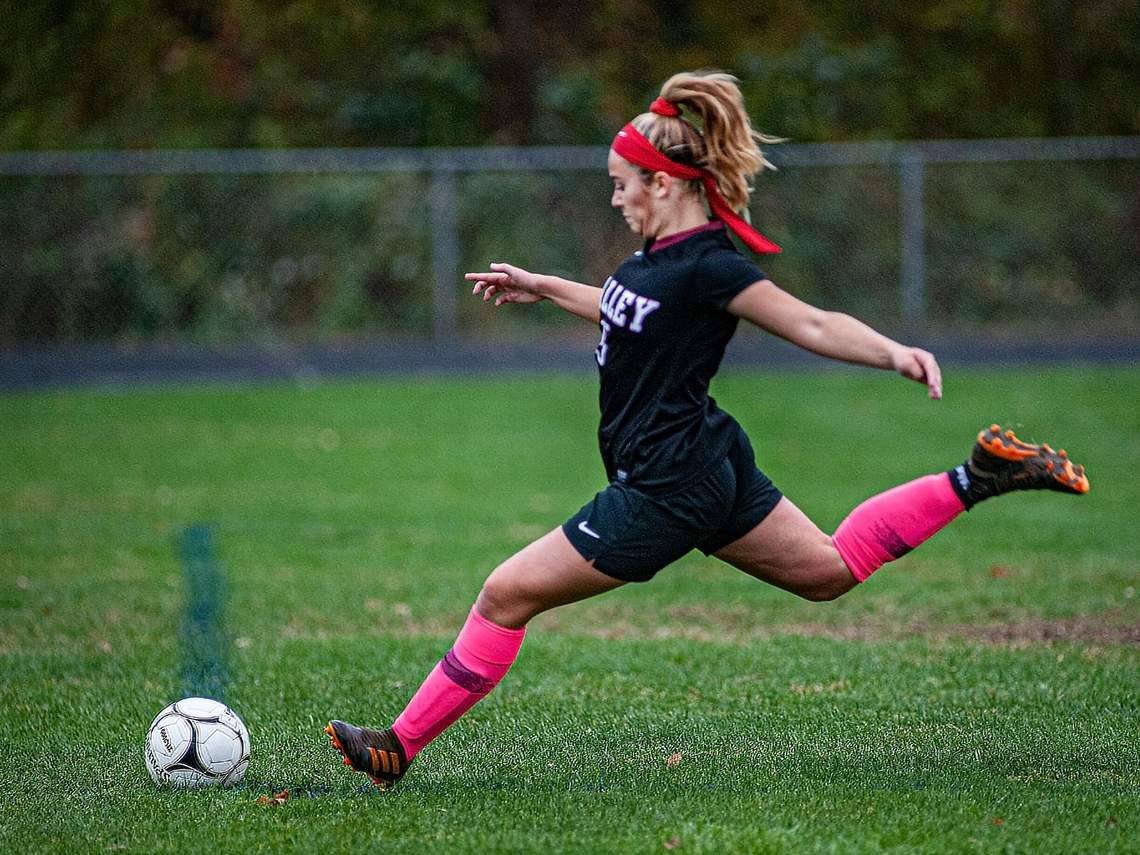 Senior center back Jeni Caulfield and the Valley Regional girls' soccer team lost a 3-2 contest to Coginchaug on Oct. 28, but got revenge by earning a 1-0 victory against the Blue Devils in the Shoreline Conference Tournament quarterfinals on Nov. 2. File photo by Susan Lambert/The Courier