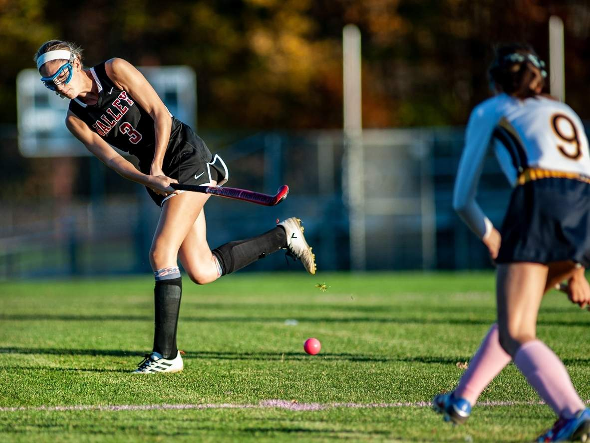 Senior Taylor Harpin and the Valley Regional field hockey squad recorded their 10th win of the season with a 2-1 victory over Morgan on Oct. 28. Harpin scored a goal in the contest and has been a major factor in the Warriors' turnaround this year.  File photo by Susan Lambert/The Courier