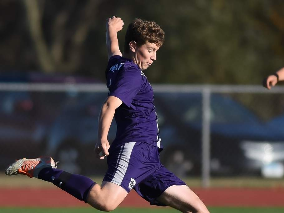 Sophomore Jonah Freund and the Westbrook boys' soccer squad earned a Class S State Tournament berth with wins against Metropolitan Learning Center and Civic Leadership last week. Photo by Kelley Fryer/Harbor News