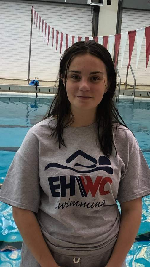 Sophomore Camryn Lendroth brings a sense of humor to the East Haven-Wilbur Cross swim squad, but she knows how to get serious when it's time to compete. Photo courtesy of Camryn Lendroth