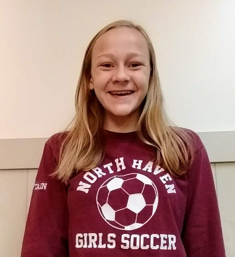 Sophomore Ada Forbes helped the North Haven girls' soccer squad qualify for states by recording eight goals and four assists during the regular season. Photo courtesy of Ada Forbes