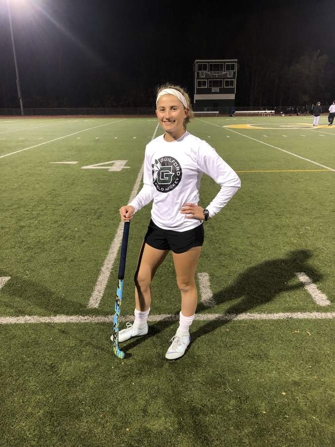 Senior captain forward Ella Stanley has 22 goals with 17 assists for the undefeated Guilford field hockey squad this fall. Photo courtesy of Ella Stanley