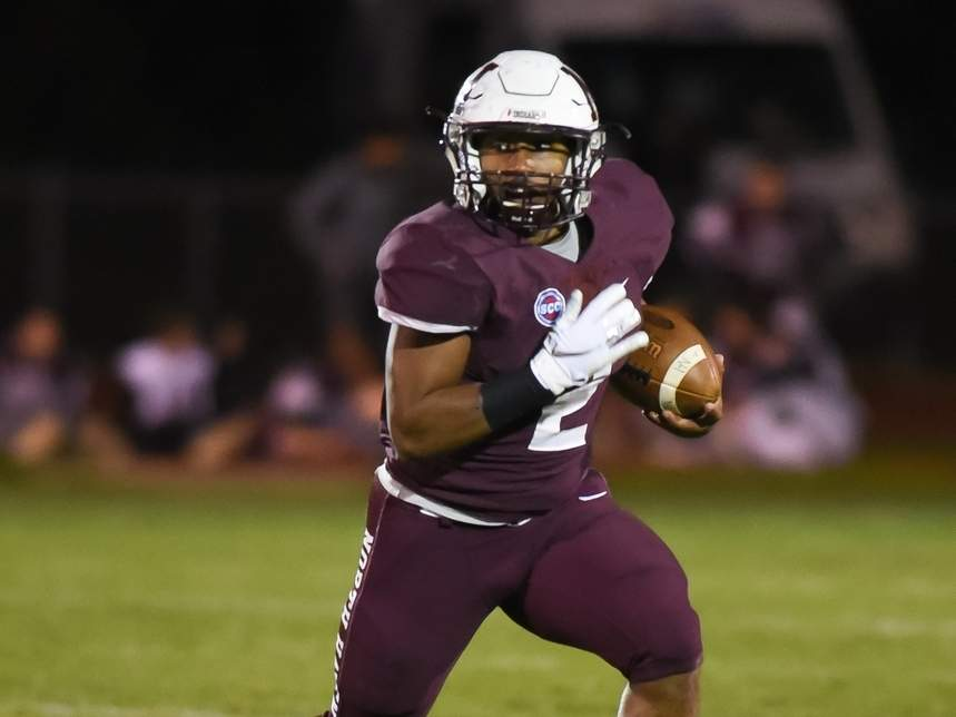 Senior Albert Hooks rushed for 181 yards and two TDs to lead the North Haven football squad to a 28-14 win over Sheehan on Senior Night on Nov. 8.  File photo by Kelley Fryer/The Courier