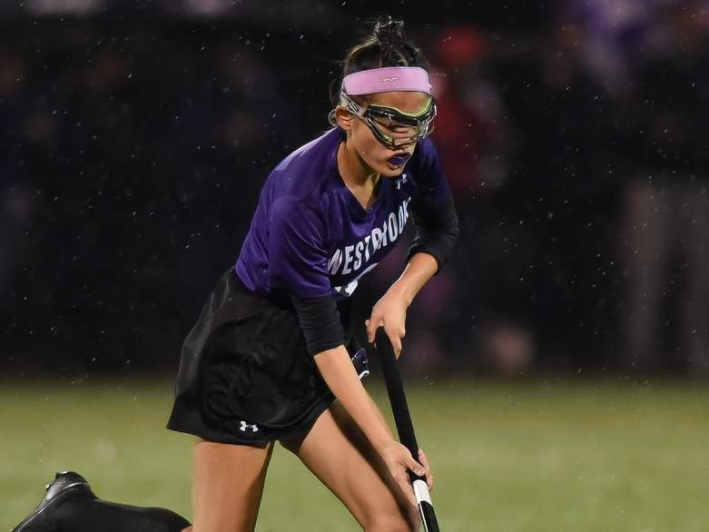 Junior Megan Greaves and the Westbrook field hockey squad battled hard against North Branford in the Shoreline Conference Tournament final, taking a 2-1 loss to the Thunderbirds at the Indian River Complex on Nov. 7. Greaves scored the Knights' goal in the contest. Photo by Kelley Fryer/Harbor News