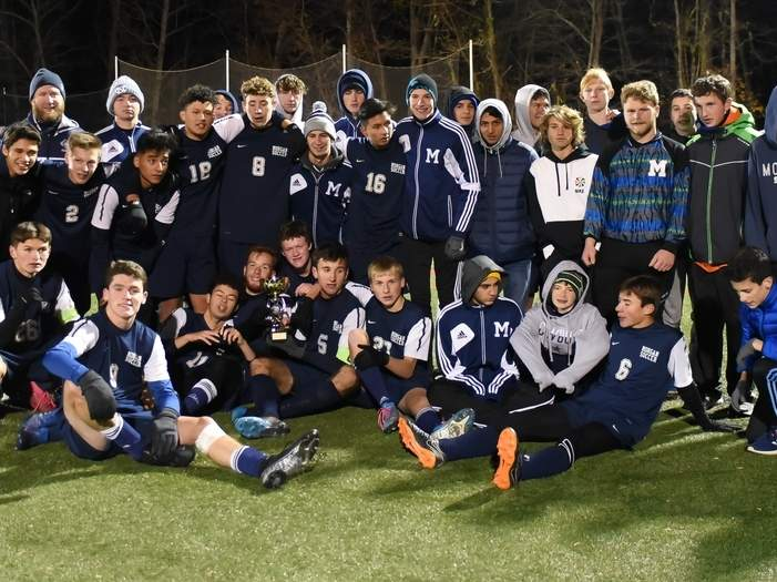 The Morgan boys' soccer team shared the Shoreline Conference title with Old Saybrook after the two sides battled to a 2-2 tie in the league final at the Indian River Complex on Nov. 8. The Huskies and Rams have faced each other several times throughout the past few years with each squad coming out on top at different points. Photo by Kelley Fryer/Harbor News