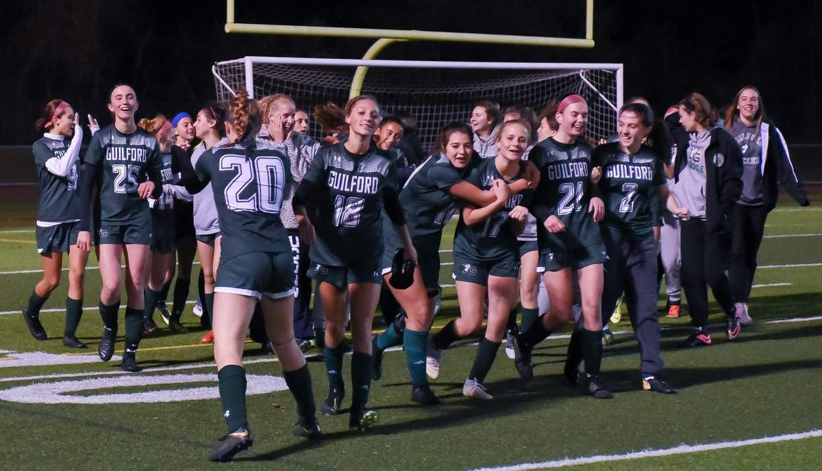 Guilford girls soccer won the SCC Championship 2-1 over Shelton.  Photo by Kelley Fryer/The Courier