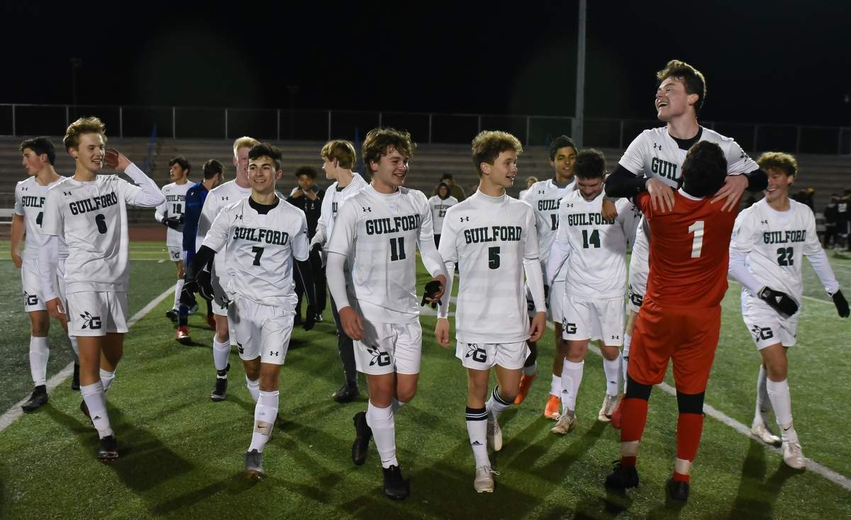 Guilford boys soccer won the SCC Championship 1-0 over Daniel Hand. Photo by Kelley Fryer/The Courier