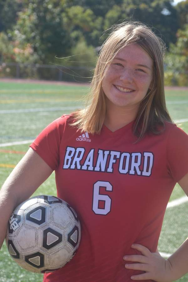 Melanie Sachs led the Branford girls' soccer squad as a captain in both her junior and senior seasons. A striker, Melanie has nine goals and six assists for the Hornets this year. Photo courtesy of Melanie Sachs