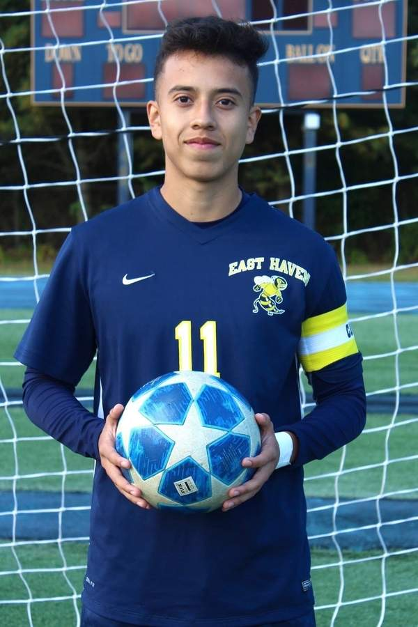 Telmo Romero moved from forward to defense while serving as a senior captain for the East Haven boys' soccer team this fall. Photo courtesy of Telmo Romero