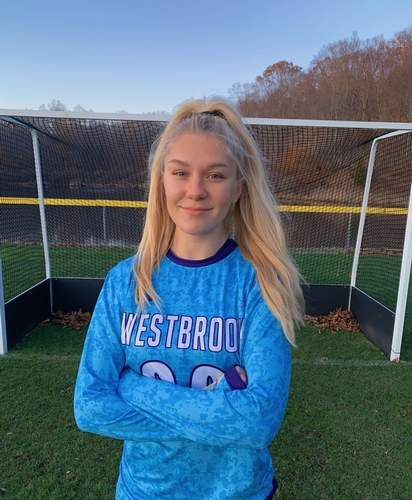 Lauren Horne has been playing field hockey with a heavy heart after her mother Christine passed away on Sept. 23. Lauren, a junior goalie for the Westbrook field hockey team, has recorded 12 shutouts and allowed just nine goals for the Knights all season. Photo courtesy of Lauren Horne