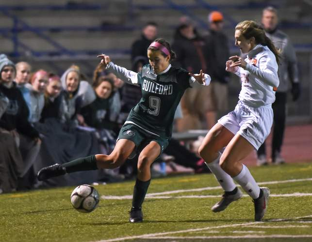 Lily Riccio scored the game-winning goal in double overtime to lift the Guilford girls' soccer squad to a 1-0 win versus Pomperaug in the quarterfinals of the Class L State Tournament. File photo by Kelley Fryer/The Courier