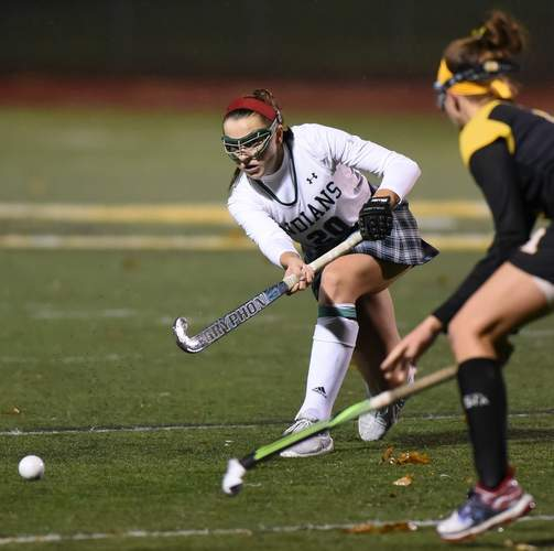 Maddie Epke scored five goals when the Guilford field hockey team started off states with a 9-1 win against Avon on Nov. 12. The Indians went on to defeat South Windsor by a score 4-0 to advance to the semis. File photo by Kelley Fryer/The Courier
