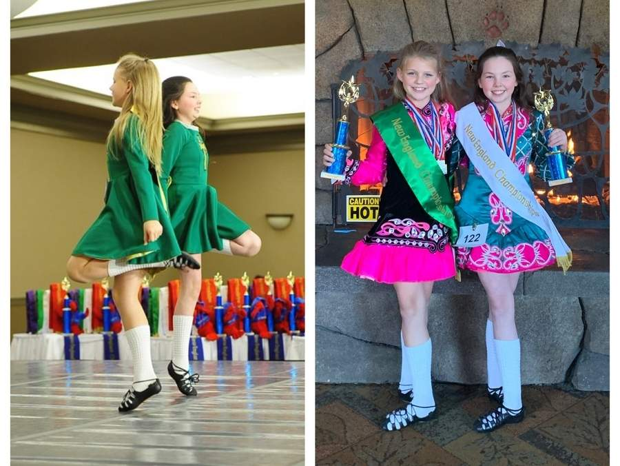 Briella Dean of East Haddam (left) and Olivia Hartmann from Clinton (right) were crowned as New England champions after putting forth some excellent performances at the Rince Tuatha Nua New England Championships in Fitchburg, Massachusetts. Dean and Hartmann were competing on behalf of the Mulkerin School of Irish Dance at Westbrook Dance Academy. Photo illustration courtesy of Westbrook Dance Academy