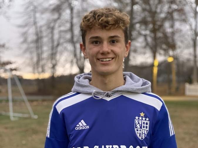 Cooper Luciani brings tremendous energy to the midfield as a senior captain for the  Old Saybrook boys' soccer squad. Photo courtesy of Cooper Luciani