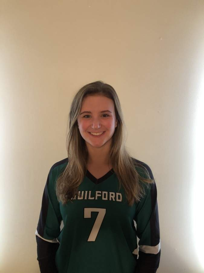 Junior captain Emma Appleman is in the midst of a decorated career with the Guilford volleyball squad. An outside hitter, Emma recently received a couple of top honors from the SCC, while helping the Indians claim their conference title. Photo courtesy of Emma Appleman