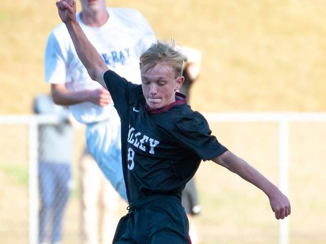 Sophomore Jake Burdick and the Valley Regional boys' soccer squad notched seven wins this season en route to a Class M State Tournament berth. Burdick earned All-Shoreline Conference First Team honors to go with 13 goals and eight assists. File photo by Kelley Fryer/The Courier