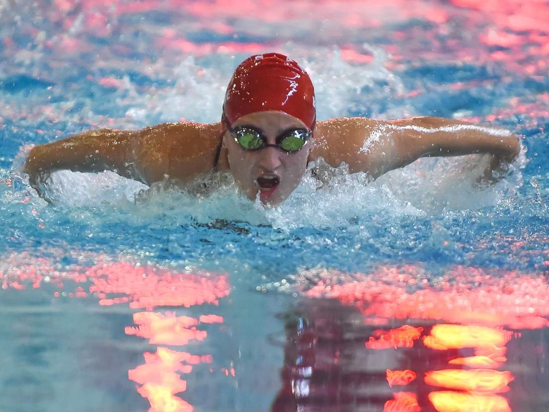 Sophomore Erika Barone finished sixth in both the 200 individual medley and the 100 backstroke to help the Branford girls' swimming and diving team finish in seventh place at the Class M State Championship on Nov. 20. File photo by Kelley Fryer/The Sound