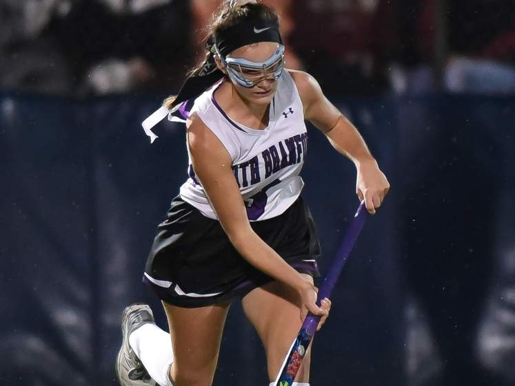 Senior captain Ava Galdenzi netted the game-winning goal to give the North Branford field hockey team a 1-0 overtime victory against Immaculate in the Class S State Tournament semifinals on Nov. 19. The Thunderbirds advanced to take on Granby in the championship game. File photo by Kelley Fryer/The Sound