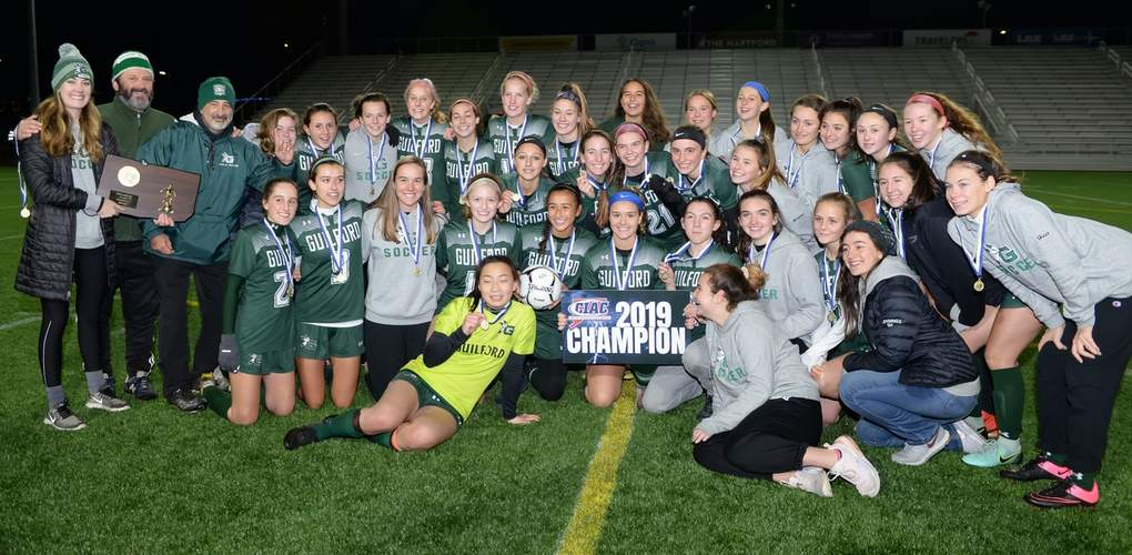 The Guilford girls' soccer squad claimed the state championship by earning a 2-1 victory versus East Lyme in the final of the Class L State Tournament at Dillon Stadium in Hartford on Nov. 23. The Indians, who also took the SCC title this season, finished the year with an overall record of 18-2-4. To see more photos from the Class L final, visit Zip06.com. Photo by Kelley Fryer/The Courier