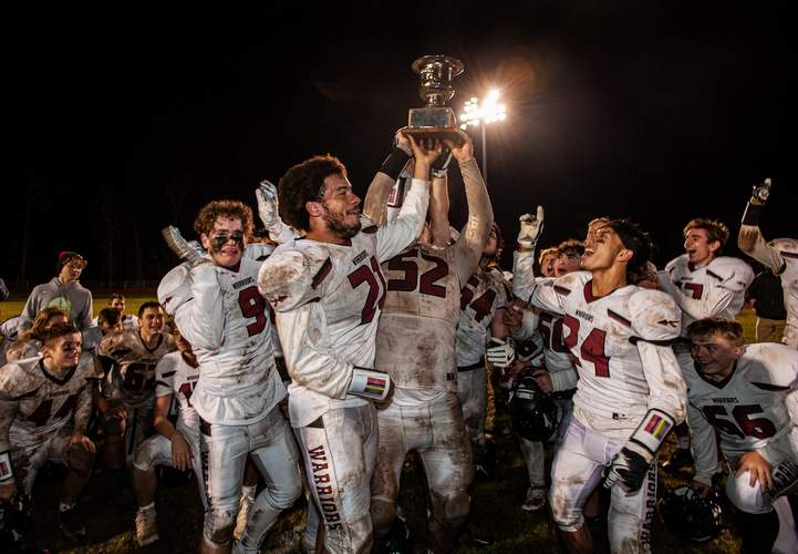The Valley Regional-Old Lyme football team reclaimed the Principal's Cup by earning a 20-2 victory over Haddam-Killingworth in the 33rd annual meeting between the rivals. Photo by Susan Lambert/The Courier