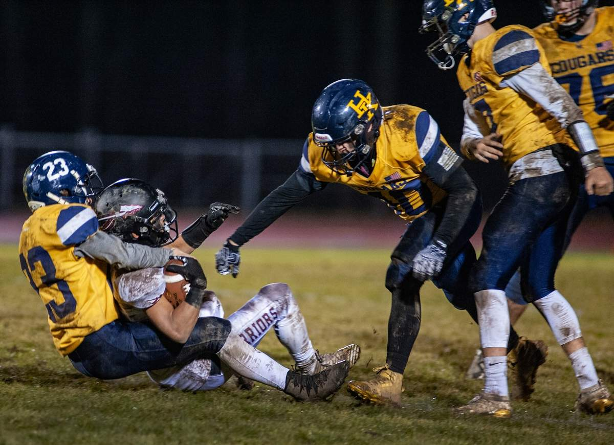 Tuesday November 26th Haddam Killingworth vs Valley Regional football game. HK lost the game 20-2.  23-  Orion Inkel  10-  Tate Callender   Photo by Susan Lambert/The Source