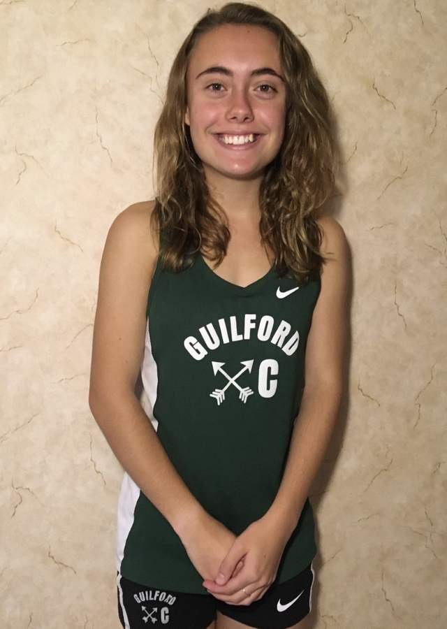 Senior captain Clara Wiesler finished her career with the Guilford girls' cross country team by helping the Indians claim their third-straight SCC crown this fall. Clara earned both All-Conference and All-State honors on behalf of the Indians. Photo courtesy of Clara Wiesler